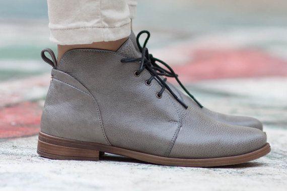 Porto Stivaletto in pelle grigia stivali di pelle di BangiShop