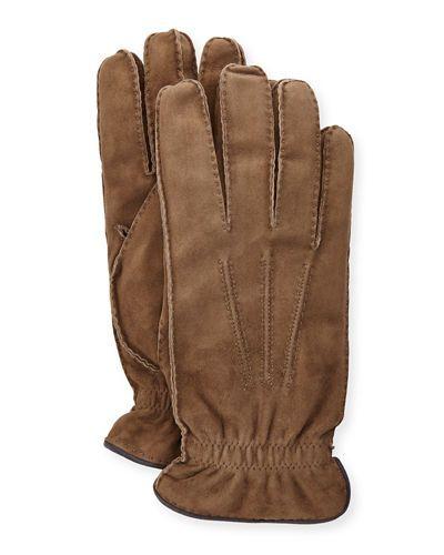 Brunello+Cucinelli+Suede+Cashmere+Lined+Gloves+ +Accessory