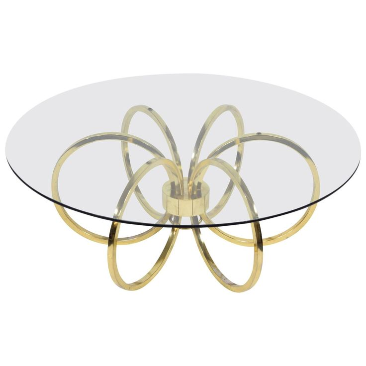 Milo Baughman Style Brass Finish Coffee Table 1