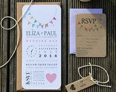 Wedding Invitation / Pastel Wedding Invitation / Kraft & Pastel Wedding Invitation - 'Rustic Bunting'