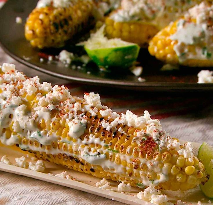 Mexican Corn Recipe - Peel husks away from corncobs and tie down over stalk with thin strips from a soft inner husk. Remove silk from cob and rinse husks...