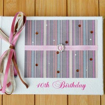 Bronze Pink Stripes 40th Birthday Guest Book