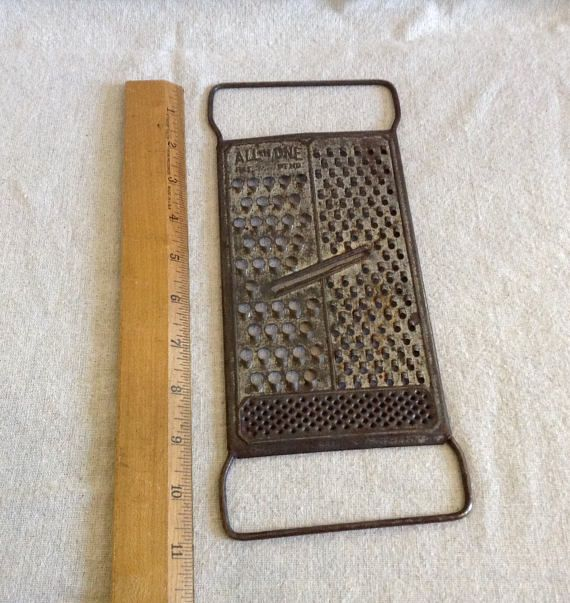 Vintage Metal All-In-One Hand Held Grater Slicer  Cottage