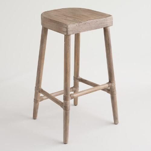 Featuring a comfortable, contoured saddle-style seat, our solid wood barstool boasts rope-bound detailing and a sandblasted gray wash finish for a classic look.