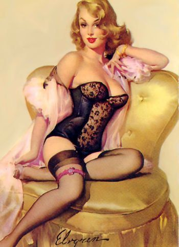 Vintage Pin Up Girl Art Print On Premium Pearl by SouthShoreArt,