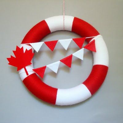 Canada Day Yarn Wreath Red, White, Maple Leaf, Bunting Flags