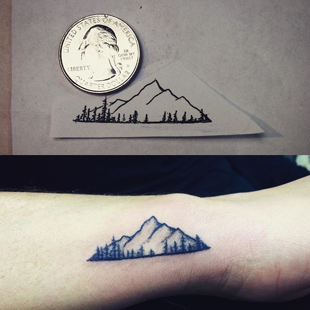 Image result for small mountain & trees tattoos