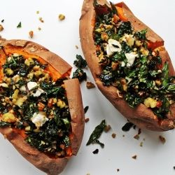Kale + Brie Stuffed Sweet Potatoes
