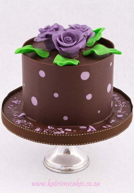 Dark Chocolate and Purple Polkadot Collar with Chocolate Roses