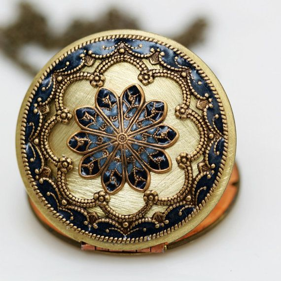 Brass locket - vintage brass filigree turquoise