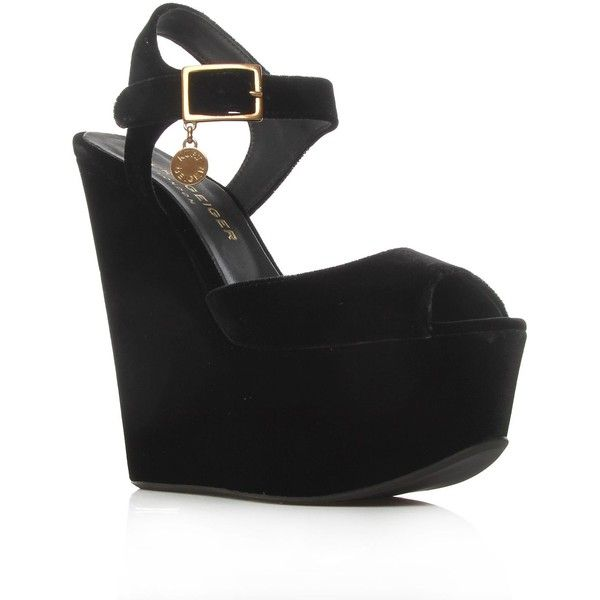 Kurt Geiger Garfield Wedges Black (5,560 MXN) ❤ liked on Polyvore featuring shoes, wedges, heels, klackskor, kurt geiger, black shoes, kohl shoes, black wedge heel shoes and wedge shoes