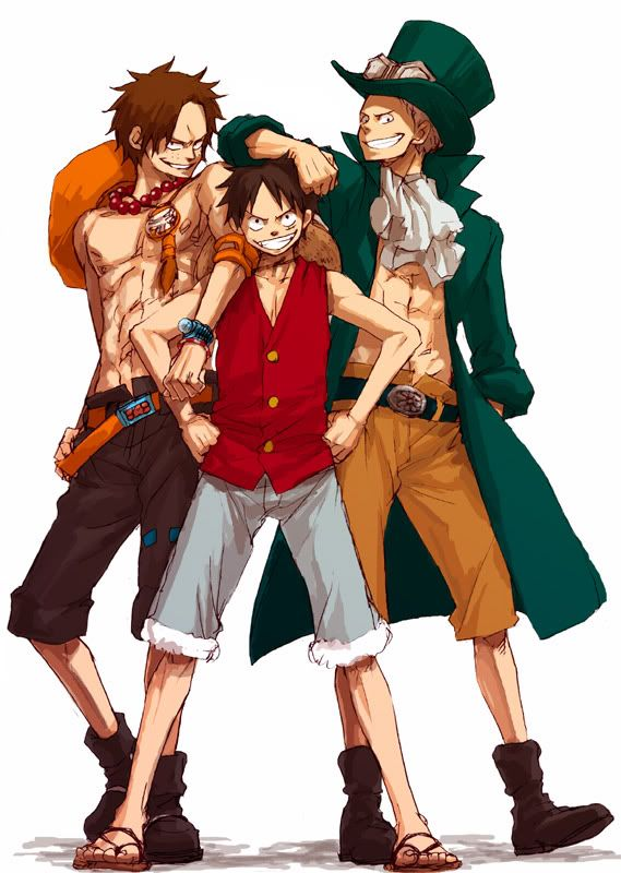 The love of brothers. When you've Friends like brothers and Brothers like friends, you're the King. #Luffy #Ace #Sabo #OnePiece #Anime