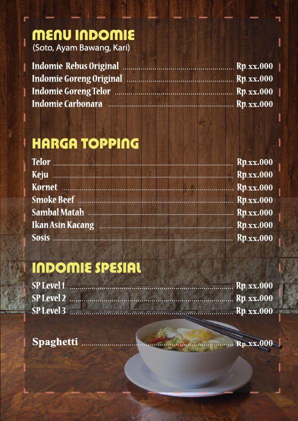 Desain Menu Mie Harga Desain Menu Desain Makanan Ide Makanan