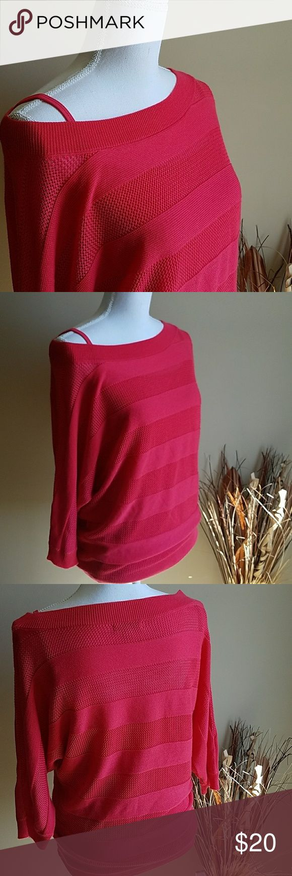 New York and Co. Cami/Sweater Bundle Berry Pink cami size large. NWOT. Matching NWOT berry pink sweater, boat neck can be worn off one shoulder. No pulls or piling on sweater. No stains or flaws on either garmet. New York & Company Sweaters