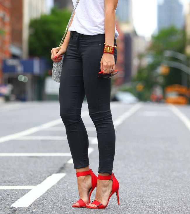 White Top & Black Pants & Red Shoes