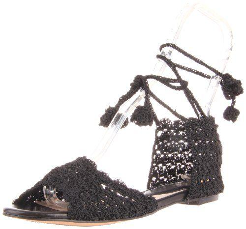 ALL BLACK Women's Crochet Lady Ankle-Strap Sandal