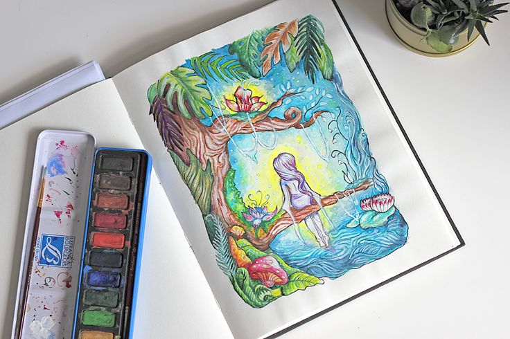 my magic place - watercolor illustration
