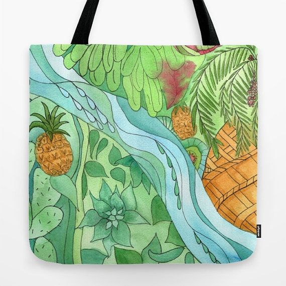 Oasis Tote Bag  blue green Beach Bag yellow by ArtfullyFeathered