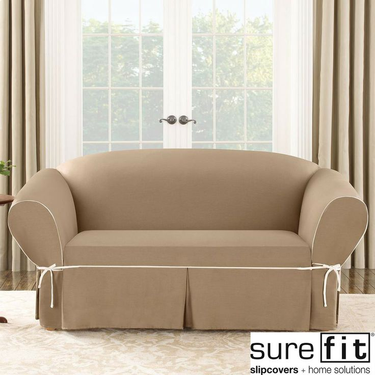 Sure Fit Contrast Cord Duck Cocoa Loveseat Slipcover | Overstock.com Shopping - The Best Deals on Loveseat Slipcovers