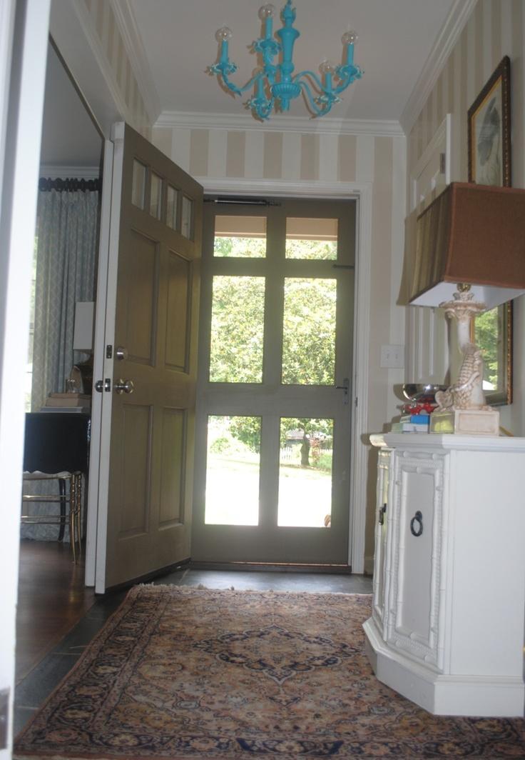 Glass Storm Door In Wooden Frame   Painted