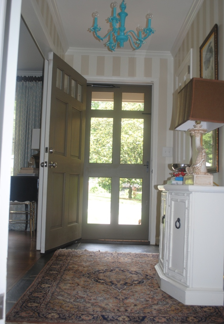 Glass storm door in wooden frame - painted