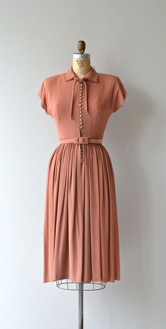 Last Letter dress vintage 1940s dress crepe 40s by DearGolden