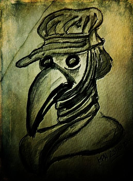 The Plague Doctor Ink on heavy watercolour paper & added texture