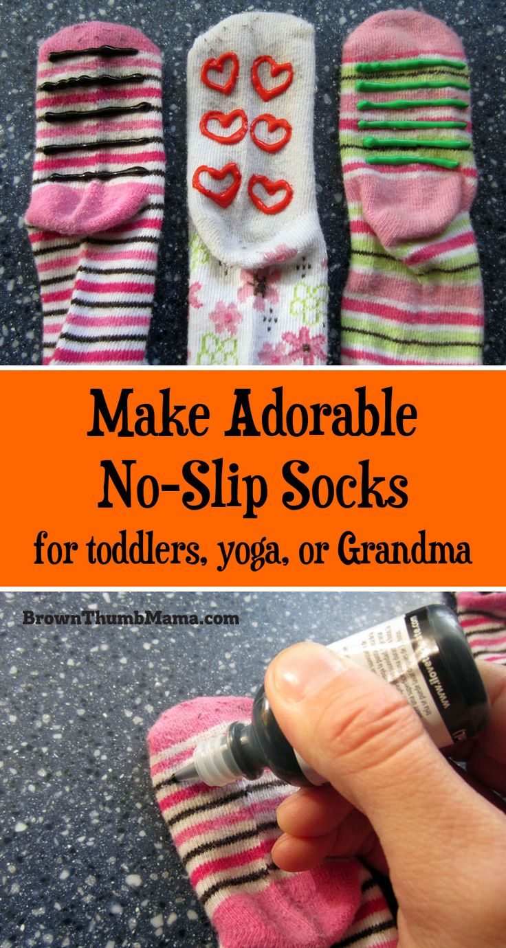 Grippy socks aren't just for #toddlers ... these no-skid #socks are easy to make and give steady footing for kids, Grandma, or in #yoga class.