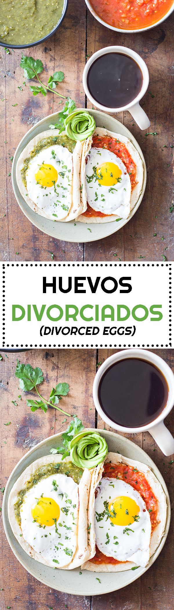 A healthy and typically Mexican breakfast: Huevos Divorciados (divorced eggs) made with a homemade salsa verde and salsa roja (green sauce and red sauce).