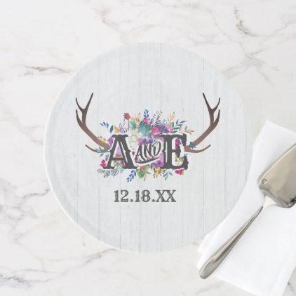 Floral Deer Antler Bouquet Rustic Wedding Monogram Cake Stand - burgundy style stylish cyo diy customize