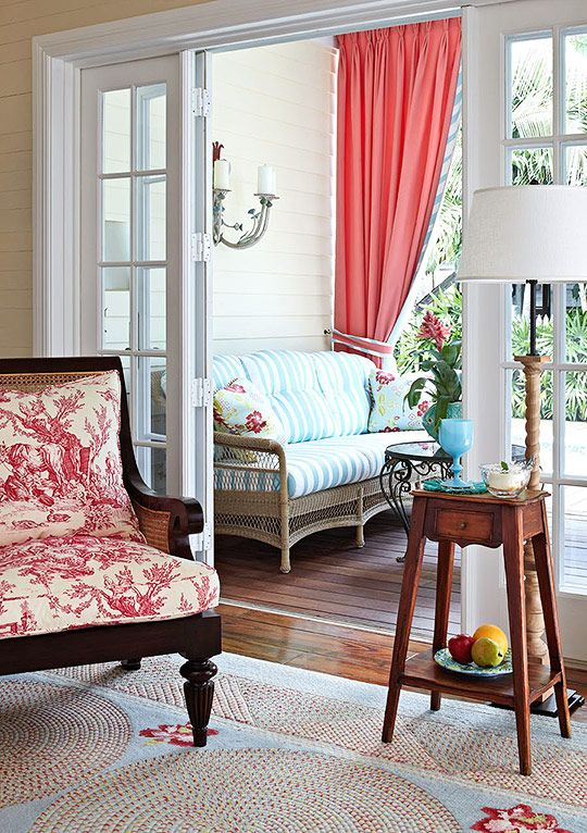 love the bright colorsDecor, Colors Combos, Beach House, Sunrooms, Keys West Vacations, Living Room, Traditional Home, Porches, Sun Room