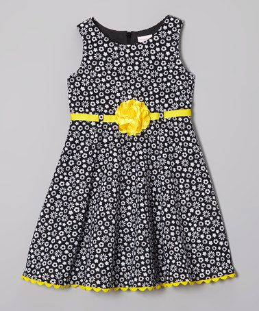 Look what I found on #zulily! Black & Yellow Daisy Dress - Infant & Toddler #zulilyfinds