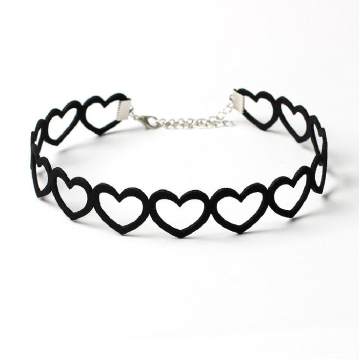 Women's Chockers Hollow Heart Shaped Black Velvet Necklace Women Choker Collares Mujer Collier Femme Bijoux Womens Necklace
