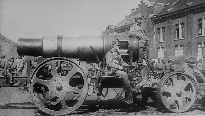 An Austrian siege gun in Belgium, used along with  German howitzers to blast the Liege forts. During the siege, Major Nameche of the Belgian Army sacrificed himself by personally igniting the powder magazine inside Fort Chaudefontaine, one of the Liege Forts, rather than see what remained of his fort fall to the Germans.