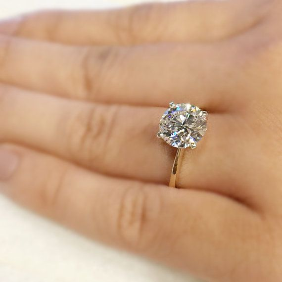 7.5mm Forever Classic Moissanite round two tone 14k white gold, 4 prongs, yellow gold band, solitaire 1.5 carat ring by charles and colvard, $855 US, FireandBrilliance, Etsy
