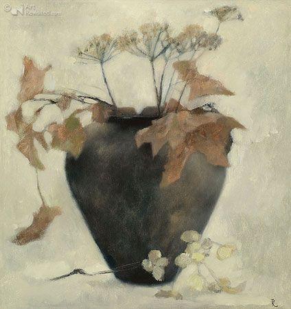 Bruine pot met schermbloem en blad. Pieter Knorr