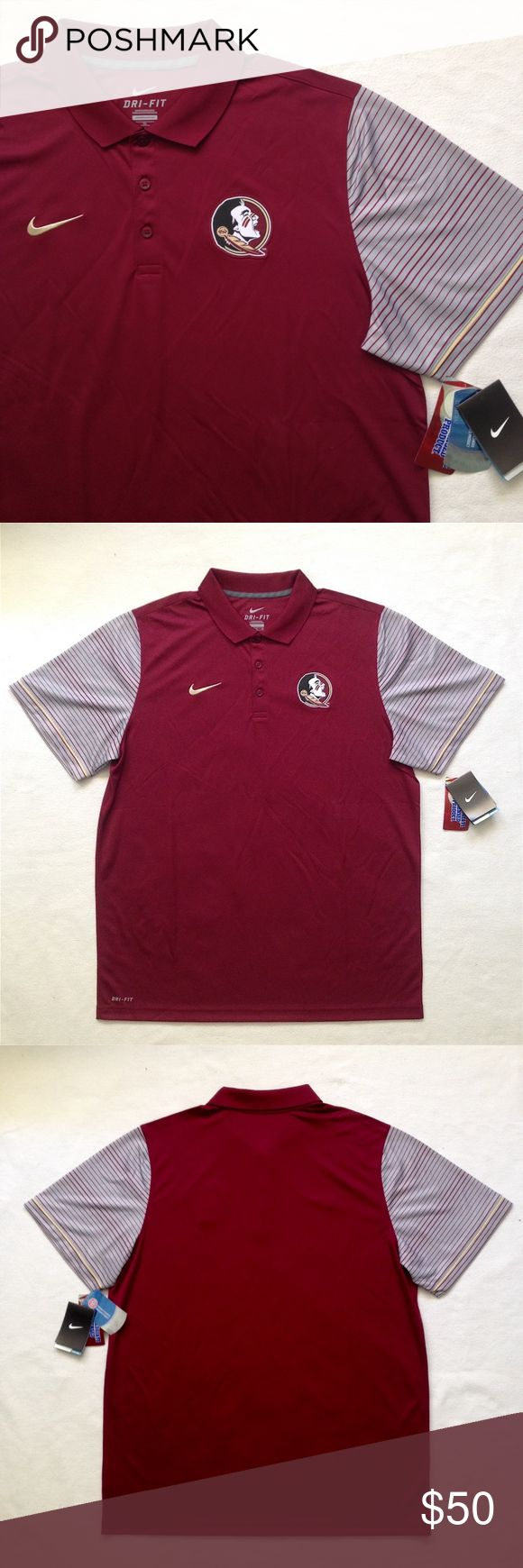 """FLORIDA STATE SEMINOLES - Nike Men's Polo Shirt The Nike College Dri-FIT Florida State Seminoles Men's Polo features school details and sweat-wicking fabric in a comfortable, timeless design.  Dri-FIT Technology helps keep you dry and comfortable Three-button placket for custom coverage Team logo graphic at the left chest & school color stripes at sleeves Pit to pit: 25"""" 100% Polyester  New with Tag Nike Shirts Polos"""