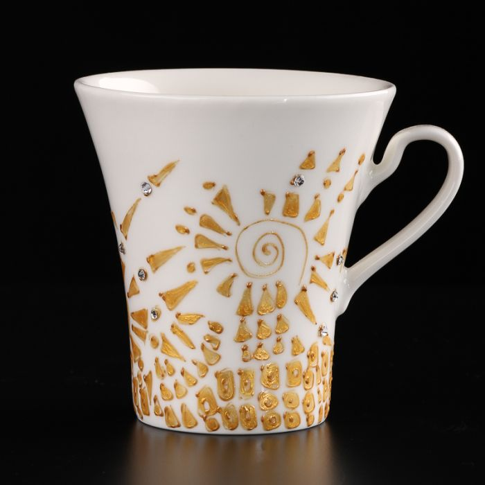 Two hand-painted cups Inspired by Gustav Klimt. Unique gift idea.
