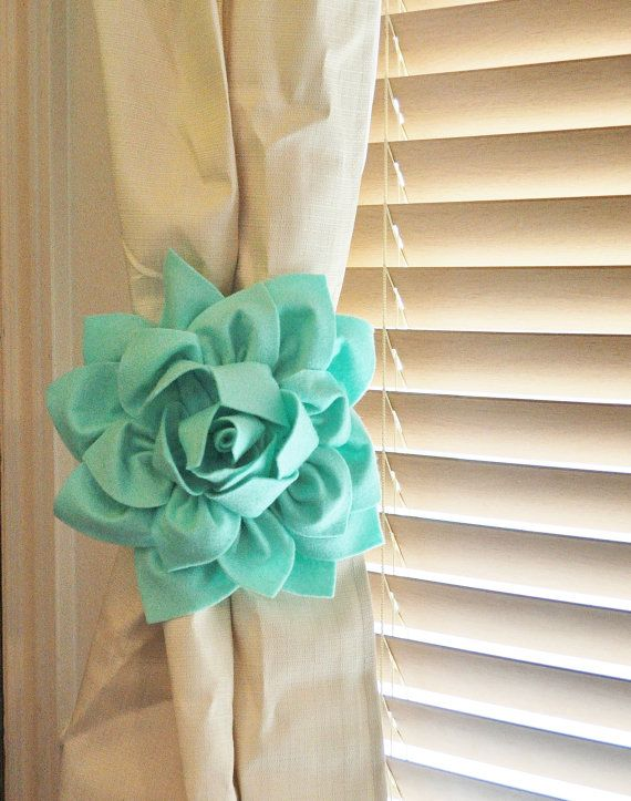 TWO Dahlia Flower Curtain Tie Backs        Would love these in Navy!