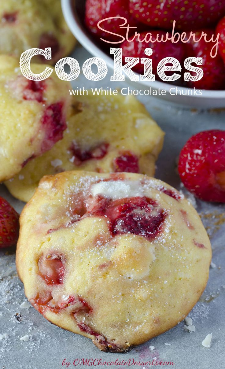 Strawberry Cream Cheese Cookies with White Chocolate Chunks