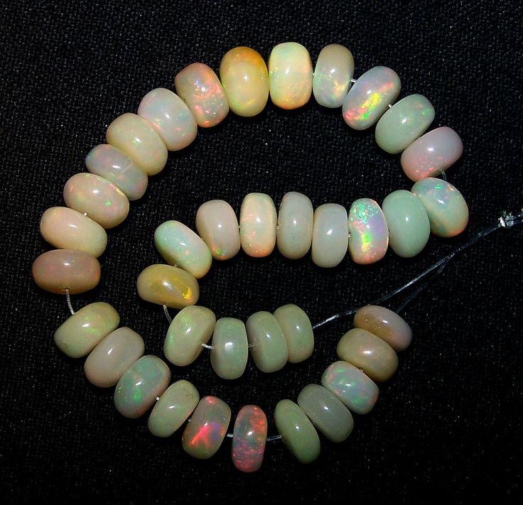 42.90 Cts Insane Multi Rainbow Fire Ethiopian Opal Beads(37 Pcs) 6.5-8 MM AAA NR