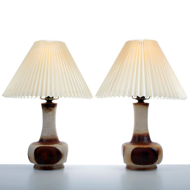 large table lamps (pair) - by AXELLA design - - Danish Mid Century design.  Pair of glazed pottery table lamps in brown tones. by DanishVintageDesigns  on ...