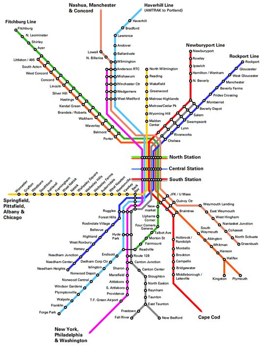 Fantasy Future Map Boston Mbta Commuter Rail North South Link