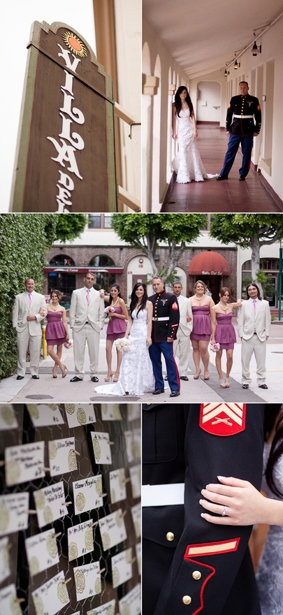 Love the idea of stepping out of the usual red or blue for colors when doing military weddings