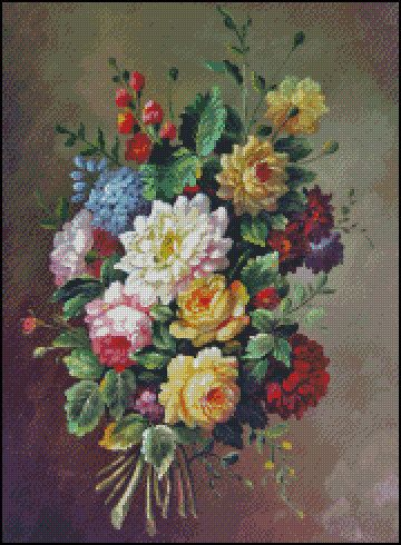 CLASSICAL FLOWERS cross stitch pattern No.687 by OlgaArtStitch
