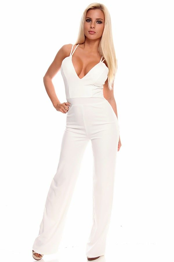 816ba5a55e6 White Mesh Floral Knitted Jumpsuit. 86 best Rompers   Jumpsuits images on  Pinterest