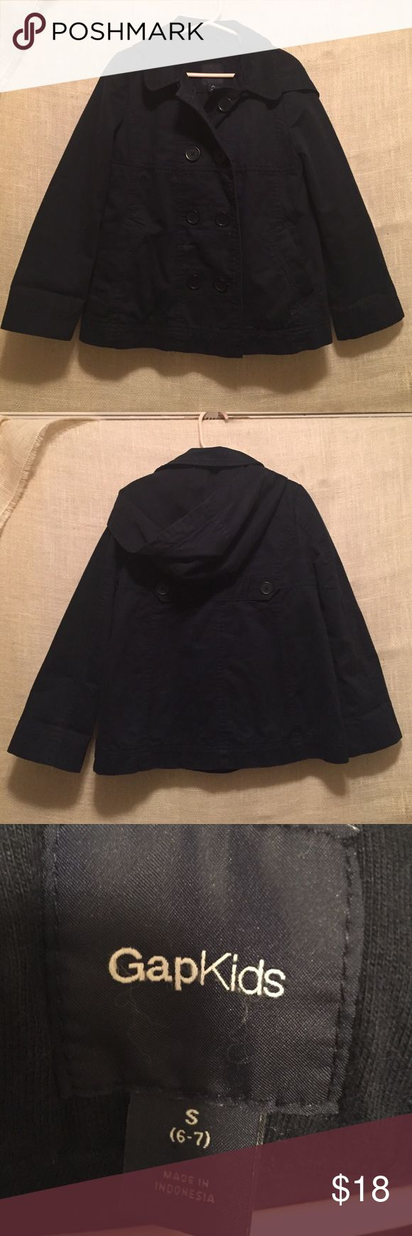 Gap girls peacoat style jacket navy size small Super cute peacoat jacket from the Gap.  Navy with navy knit lining inside. Perfect for spring and fall. Detachable hood. Lots of cute details.  Excellent condition. Size small 6 - 7 GAP Jackets & Coats Pea Coats