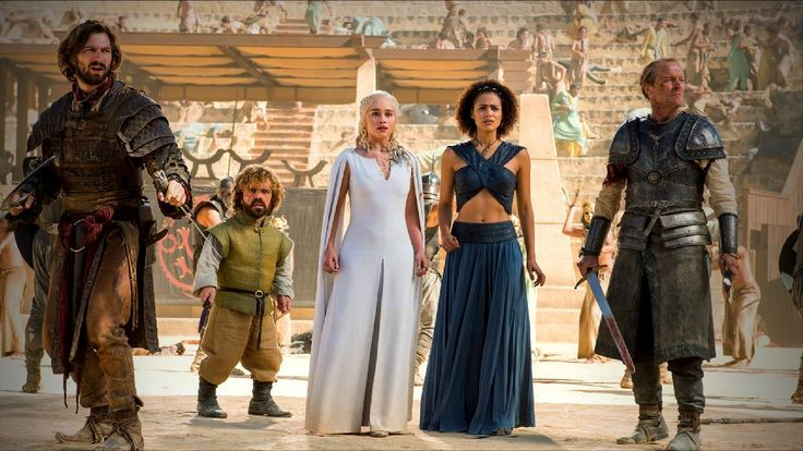 Daario Naharis, Tyrion Lannister, Dany Targaryen, Melisandre and Jorah Mormont surrounded by Sons of the Harpy. Game of Thrones