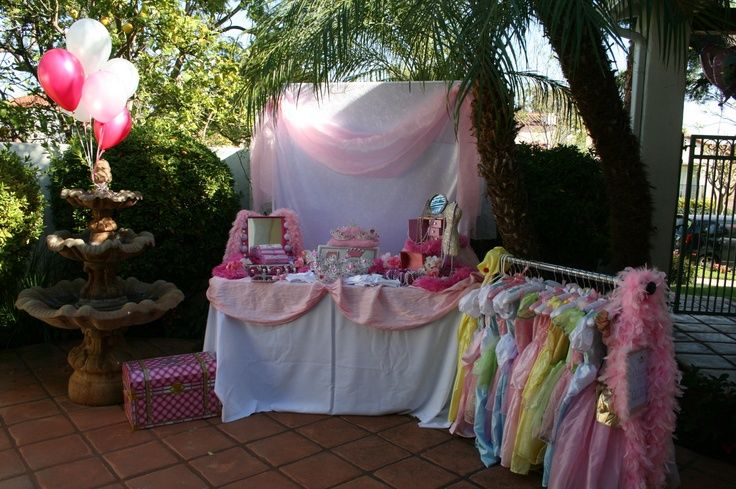 GREAT girls birthday party idea. have a dress up station and a make up station. LOVE IT!!!