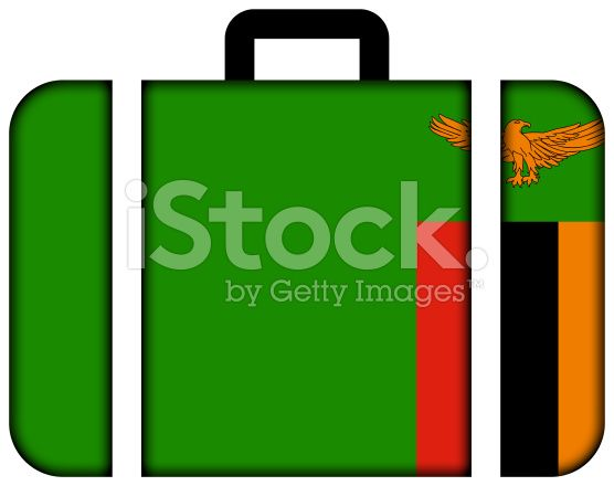 Suitcase with Zambia Flag royalty-free stock photo